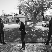 Erin is selling her home and moving into a new home with her boyfriend. It's bitter sweet but she's looking forward to a new chapter in life, she said. A sales agent, right, and his team photograph using a drone as Erin looks on.