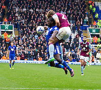 Birmingham City's Clayton Donaldson is climbed on by Aston Villa's Nathan Baker<br /> <br /> Photographer James Williamson/CameraSport<br /> <br /> The EFL Sky Bet Championship - Birmingham City v Aston Villa - Sunday October 30th 2016 - St Andrews - Birmingham<br /> <br /> World Copyright © 2016 CameraSport. All rights reserved. 43 Linden Ave. Countesthorpe. Leicester. England. LE8 5PG - Tel: +44 (0) 116 277 4147 - admin@camerasport.com - www.camerasport.com
