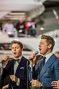 The Jack Pack -Joanna Lumley opens the Sunseeker stand alond with singing quartet Jack Pack (pictured)- The London Boat Show opens at the Excel centre. London 06 Jan 2017 Joanna Lumley opens the Sunseeker stand alond with singing quartet Jack Pack (pictured) - The London Boat Show opens at the Excel centre. London 06 Jan 2017