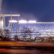 Panorama photo of Kauffman Stadium in Kansas City, Missouri at the start of the Royals / Toronto Blue Jays playoff game on the evening of Friday, October 23, 2015.