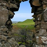 Europe, Ireland, Northern Ireland, Bushmills. Dunluce Castle. tower window view.