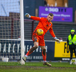 Queen of the South's keeper Ross Stewart. Arbroath 2 v 0 Queen of the South, Scottish Championship game played 15/2/2020 at Arbroath's home ground, Gayfield Park.