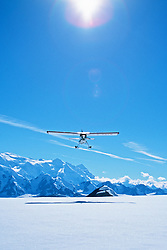 Andy Williams' plane takes off in the St. Elias Icefields, Kluane National Park, Yukon