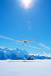 Andy Williams' plane takes off in the St. Elias Icefields, Kluane National Park, Yukon