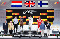 03-07-2016 AUT: Grand Prix van Oostenrijk Formule 1 Red Burg Ring, Spielberg<br /> Podium f.l. Govenor Herman Schützenhoefer Chief Strategist of AMG Mercedes Team James Vowles 2nd placed Dutch Formula One driver Max Verstappen of Red Bull Racing Race winner British Formula One driver Lewis Hamilton of Mercedes AMG F1 3rd placed Finnish Formula One driver Kimi Raeikkoenen of Scuderia Ferrari  and minister of interior Wolfgang Sobotka during the Race for the Austrian Formula One Grand Prix at the Red Bull Ring in Spielberg<br /> <br /> ***NETHERLANDS ONLY***