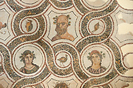 Picture of a Roman mosaics design depicting Sileuns and two of the Four Seasons, from the ancient Roman city of Thysdrus. 3rd century AD. El Djem Archaeological Museum, El Djem, Tunisia. .<br /> <br /> If you prefer to buy from our ALAMY PHOTO LIBRARY Collection visit : https://www.alamy.com/portfolio/paul-williams-funkystock/roman-mosaic.html . Type - El Djem - into the LOWER SEARCH WITHIN GALLERY box. Refine search by adding background colour, place, museum etc<br /> <br /> Visit our ROMAN MOSAIC PHOTO COLLECTIONS for more photos to download as wall art prints https://funkystock.photoshelter.com/gallery-collection/Roman-Mosaics-Art-Pictures-Images/C0000LcfNel7FpLI