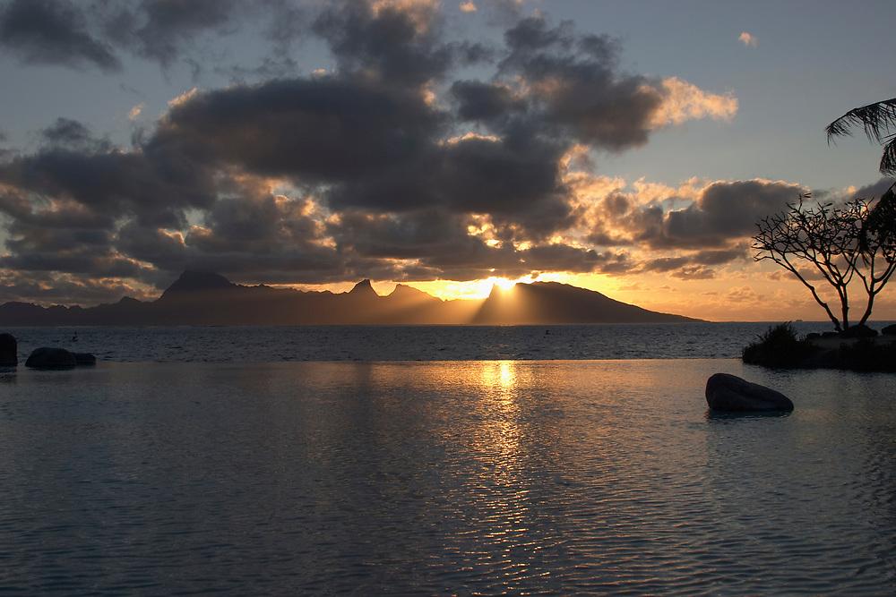 View of Moorea at sunset from the Tahiti International Hotel, Tahiti, Society Islands, French Polynesia