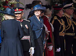 © Licensed to London News Pictures. 23/10/2018. London, UK. British Prime Minister THERESA MAY (centre) is seen attending a ceremony on Horse Guards Parade in London for the arrival of King Willem-Alexander and Queen Maxima of the Netherlands as part of a state visit to the UK. Photo credit: Ben Cawthra/LNP