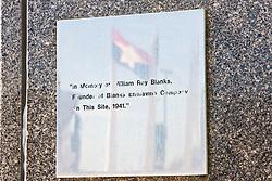 Blanks Engraving plaque, downtown Dallas, Texas, USA.