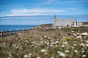 A chirch is seen on Baie des Trépassés (Breton: Bae an Anaon), or the Bay of the Dead in Finisterre, Bretagne, France.<br /> <br /> © Giorgio Perottino