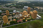 aerial view of large Buddhist Temple, phap vien minh dang quang, in an urban setting of the second district of Ho Chi Minh City, Vietnam