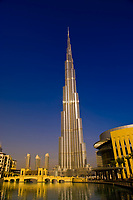 The Dubai Mall with the Burj Khalifa (tallest building in the world) in back, Dubai, United Arab Emirates