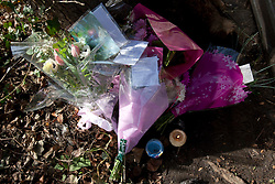 © licensed to London News Pictures. London, UK 08/03/2012. Flowers next to Regents Canal in east London where a torso, thought to be that of TV actress Gemma McCluskie's  was found yesterday. Photo credit: Tolga Akmen/LNP
