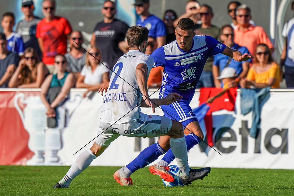 15.09.2019; Wohlen; FUSSBALL SCHWEIZER CUP - FC Wohlen - FC Luzern;<br /> Otar Kakabadze (Luzern) Esat Balaj (Wohlen) <br /> (Andy Mueller/freshfocus)