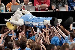 """CHAPEL HILL, NC - FEBRUARY 27: """"Ramses"""" mascot of the North Carolina Tar Heels surfs the crowd while playing the Maryland Terrapins on February 27, 2011 at the Dean E. Smith Center in Chapel Hill, North Carolina. North Carolina won 76-87. (Photo by Peyton Williams/UNC/Getty Images) *** Local Caption *** Ramses"""