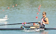 Banyoles, SPAIN,   GBR M1X Ian LAWSON moves away from the start, during this heat of the  Men's single Sculls at the  FISA World Cup Rd 1. Lake Banyoles Friday 29/05/2009   [Mandatory Credit. Peter Spurrier/Intersport Images]
