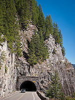 Tunnel along the Stevens Pass road in Mount Rainier National Park., Washington state, USA