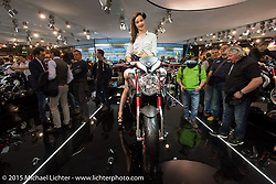 The MV Augusta display at EICMA, the largest international motorcycle exhibition in the world. Milan, Italy. November 18, 2015.  Photography ©2015 Michael Lichter.