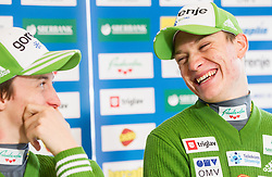 Peter Prevc and Anze Lanisek during press conference of Slovenian Ski jumping team, on December 23, 2014 in Planica, Slovenia. Photo by Vid Ponikvar / Sportida