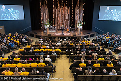 Grady Pfeiffer spoke before the large crowd at the Arlen Ness Memorial - Celebration of Life at the CrossWinds Church, Livermore, CA, USA. Saturday, April 27, 2019. Photography ©2019 Michael Lichter.
