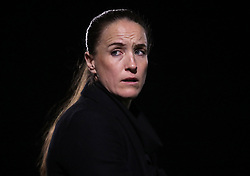 Manchester United Women's Manager Casey Stoney looks on during the game