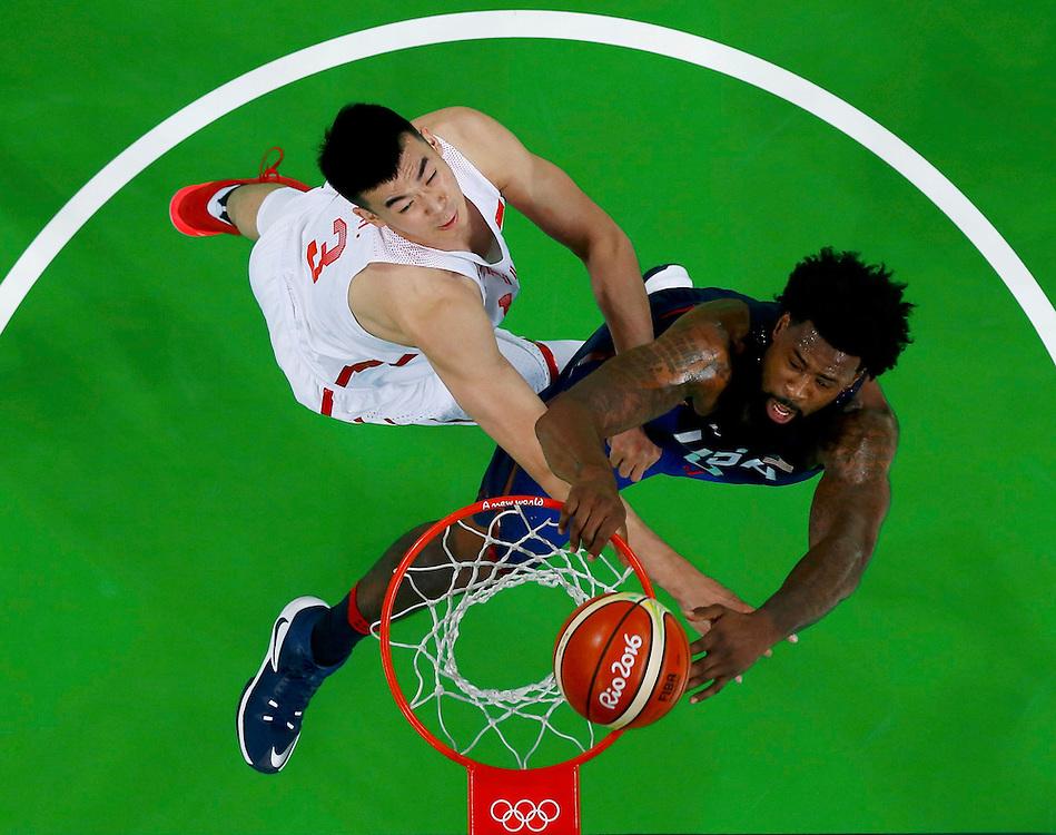 2016 Rio Olympics -  Rio de Janeiro, Brazil - 06/08/2016. Deandre Jordan (USA) of the USA dunks on Li Muhao (CHN) of China (PRC).   REUTERS/Jim Young