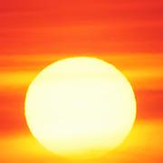 Very large sun rising through the orange sky