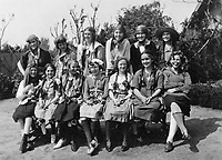 1918 Hollywood School For Girls students pose while performing a play at the school.