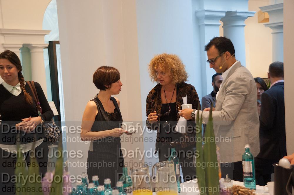 CHUS MARTINEZ; CAROLYN CHRISTOV-BAKARGIEV, Breakfast and introduction to Documenta (13), at Ständehaus<br /> Venue: Standehaus, Absolut Maybe bar area, Documenta ( 13 ), Kassel, Germany. 14 September 2012.