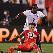 EAST RUTHERFORD, NEW JERSEY - JUNE 17:  Jose Paolo Guerrero #9 of Peru is defended by Cristian Zapata #2 of Colombia during the Colombia Vs Peru Quarterfinal match of the Copa America Centenario USA 2016 Tournament at MetLife Stadium on June 17, 2016 in East Rutherford, New Jersey. (Photo by Tim Clayton/Corbis via Getty Images)