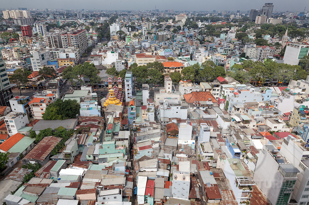 """Aerial view of colorful """"tube houses"""" crammed together in Cholon, Ho Chi Minh City, Vietnam, Southeast Asia"""