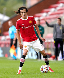 Manchester United's Alvaro Fernandez (left) and during the UEFA Youth League, Group F match at Leigh Sports Village, Manchester. Picture date: Wednesday September 29, 2021.