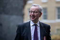 © Licensed to London News Pictures. 08/12/2020. London, UK. Minister for the Cabinet Office Michael Gove on Downing Street before the cabinet meeting as the first doses of the Coronavirus vaccine are administered across the UK. The Prime Minister will travel to Brussels this week for a face-to-face meeting with President of the European Commission Ursula con der Leyen in a final attempt to find agreement on a possible Brexit deal. Photo credit: Rob Pinney/LNP