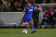AFC Wimbledon defender Will Nightingale (5) passing the ball during the EFL Sky Bet League 1 match between AFC Wimbledon and Peterborough United at the Cherry Red Records Stadium, Kingston, England on 12 March 2019.