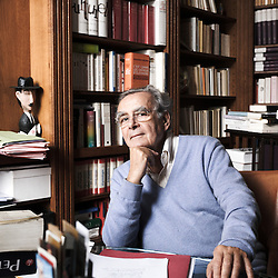 PARIS, FRANCE. NOVEMBER 4, 2011. French anchorman and writer Bernard Pivot in his house, surrounded by books. Photo: Antoine Doyen