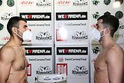 BOXEN: Universum Boxpromotion, Waage, Hamburg, 19.02.2021<br /> Rostam Ibrahim (GER, l.) und Toni Kraft (GER; Universum)<br /> © Torsten Helmke