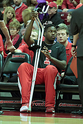 01 February 2014:  John Jones sits on the bench, sidelined by a broken right foot during an NCAA Missouri Valley Conference (MVC) mens basketball game between the Drake Bulldogs and the Illinois State Redbirds  in Redbird Arena, Normal IL.