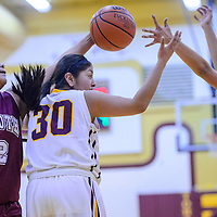 Tohatchi Cougar Cheyenne Begay (30) and Rehoboth Lynx Jessica Becenti (22) compete for a rebound Tuesday at Tohatchi High School.