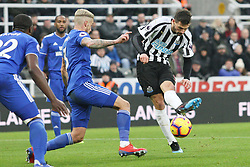 January 19, 2019 - Newcastle, England, United Kingdom - Newcastle United's Fabian Schar scoring his side's first goal during the Premier League match between Newcastle United and Cardiff City at St. James's Park, Newcastle on Saturday 19th January 2019. (Credit Image: © Mark Fletcher/NurPhoto via ZUMA Press)