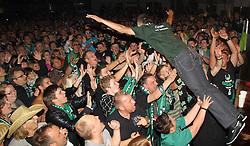 29.05.2011, Ried im Innkreis, AUT, OeFB Samsung Cup, Siegesfeier SV Josko Ried, im Bild Stagediving von Anel Hadzic, EXPA Pictures © 2011, PhotoCredit: EXPA/ R. Hackl