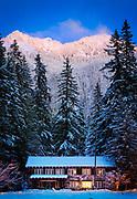 Winter at Mount Rainier National Park administration building at Longmire, Washington