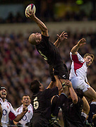 Twickenham. Surrey. UK England vs New Zealand, Autumn Internationals.<br /> Keith ROBINNSON get's a hand to the ball in the line out.<br /> 09/11/2002<br /> International Rugby England vs New Zealand [Mandatory Credit Peter SPURRIER/Intersport Images]