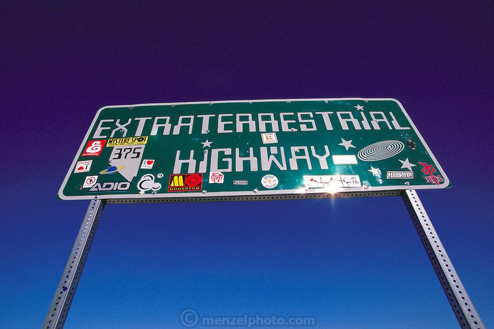 Near Area 51, Extraterrestrial Highway 375 sign north of Rachel, near Warm Springs, Nevada.  1999.