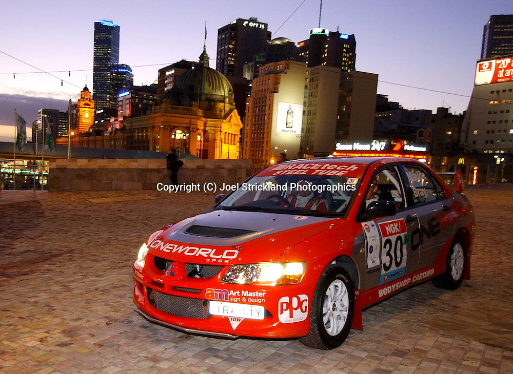 Paul Bray.Mitsubishi Lancer Evolution 8.Motorsport-Rally.2003 NGK Rally of Melbourne.Yarra Valley, Victoria .5th of October 2003 .(C) Joel Strickland Photographics