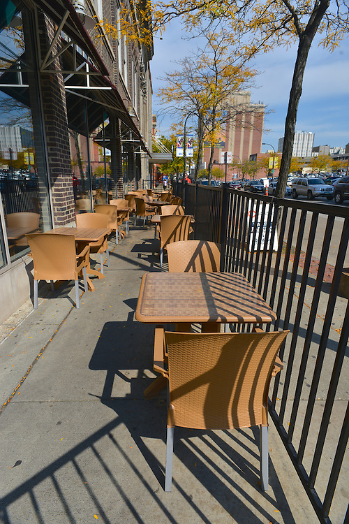 Outdoor seating at Bricco restaurant.