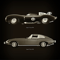 For the lover of old classic cars, this combination of a Jaguar D Type 1956 and Jaguar E Type 1960 is truly a beautiful work to have in your home.<br /> The classic Jaguar D Type and the beautiful Jaguar E Type are among the most beautiful cars ever built.<br /> You can have this work printed in various materials and without loss of quality in all formats.<br /> For the oldtimer enthusiast, the series by the artist Jan Keteleer is a dream come true. The artist has made a fine selection of the very finest cars which he has meticulously painted down to the smallest detail. – –<br /> -<br /> <br /> BUY THIS PRINT AT<br /> <br /> FINE ART AMERICA<br /> ENGLISH<br /> https://janke.pixels.com/featured/jaguar-d-type-1956-and-jaguar-e-type-1960-jan-keteleer.html<br /> <br /> WADM / OH MY PRINTS<br /> DUTCH / FRENCH / GERMAN<br /> https://www.werkaandemuur.nl/nl/shopwerk/Jaguar-D-Type-1956-en-Jaguar-E-Type-1960/756068/132?mediumId=1&size=60x60<br /> –