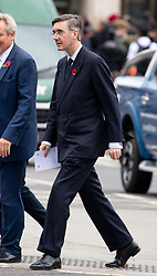 © Licensed to London News Pictures. 06/11/2018. London, UK. Jacob Rees-Mogg MP arrives for a Service at St Margaret's Church, Westminster to mark the Centenary of the end of the First World War. Parliamentarians from the House of Commons and House of Lords gathered to remember the sacrifices of those parliamentarians, parliamentary officers and staff who gave their lives during the First World War, or who were injured. Photo credit : Tom Nicholson/LNP
