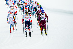 February 2, 2018 - Goms, SWITZERLAND - LISA VINSA of Sweden, TIRIL UDNES WENG of Norway and NATALIA NEPRJAEVA of Russia compete in the women's 7,5/7,5 km skiathlon during the FIS U23 Cross-Country World Ski Championships in Obergoms. (Credit Image: © Vegard Wivestad Grott/Bildbyran via ZUMA Press)