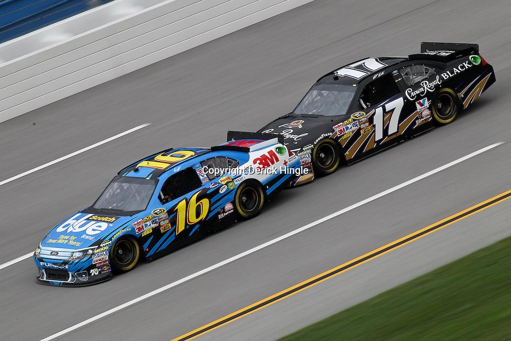 April 15, 2011; Talladega, AL, USA; NASCAR Sprint Cup Series driver Matt Kenseth (17) bump drafts Greg Biffle (16) during practice for the Aarons 499 at Talladega Superspeedway.   Mandatory Credit: Derick E. Hingle