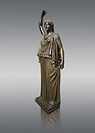 Roman Bronze sculpture of a Dancing Women from the square peristyle of the Villa of the Papyri in Herculaneum, Museum of Archaeology, Italy .<br /> <br /> If you prefer to buy from our ALAMY STOCK LIBRARY page at https://www.alamy.com/portfolio/paul-williams-funkystock/greco-roman-sculptures.html . Type -    Naples    - into LOWER SEARCH WITHIN GALLERY box - Refine search by adding a subject, place, background colour, etc.<br /> <br /> Visit our ROMAN WORLD PHOTO COLLECTIONS for more photos to download or buy as wall art prints https://funkystock.photoshelter.com/gallery-collection/The-Romans-Art-Artefacts-Antiquities-Historic-Sites-Pictures-Images/C0000r2uLJJo9_s0